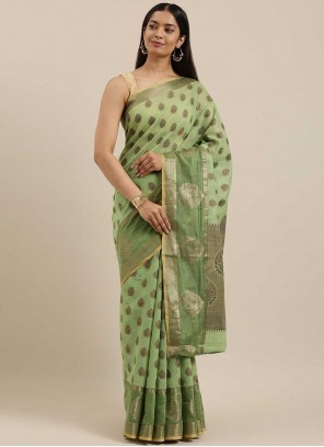 Woven Handloom Cotton Traditional Saree in Green
