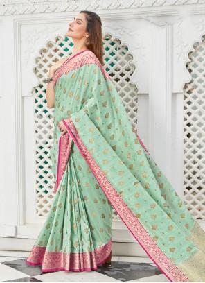 Woven Handloom Cotton Traditional Saree in Sea Green