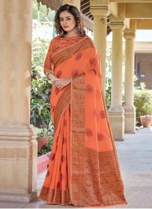 Peach Woven Handloom Cotton Trendy Saree