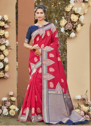 Woven Hot Pink Designer Traditional Saree