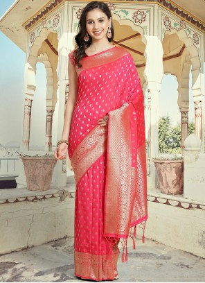 Woven Hot Pink Silk Designer Traditional Saree