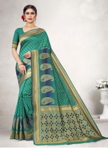 Woven Jacquard Silk Traditional Designer Saree in Green