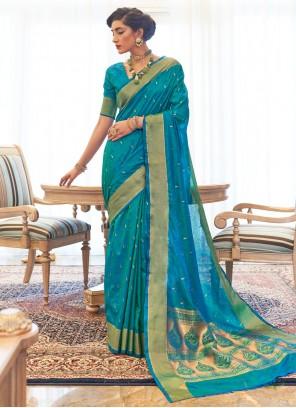 Woven Kanjivaram Silk Blue Traditional Designer Saree