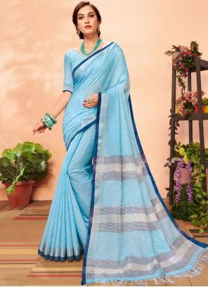 Woven Linen Casual Saree in Aqua Blue