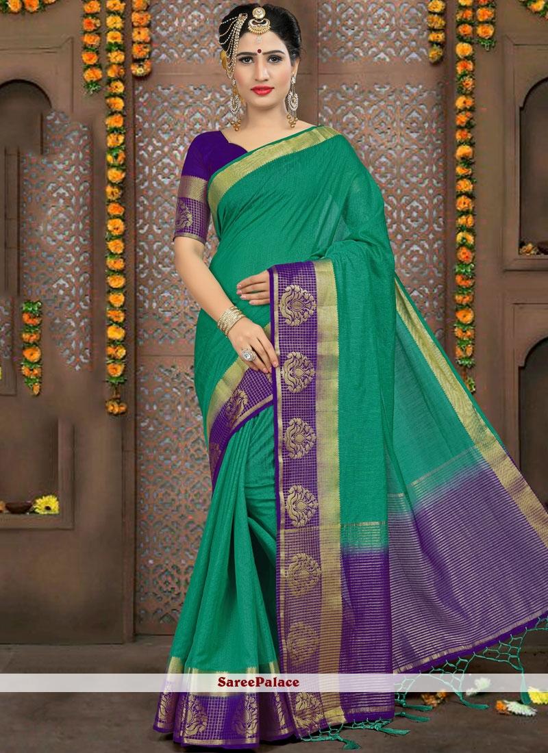 Woven Linen Classic Saree in Sea Green