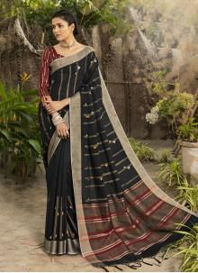 Woven Linen Traditional Designer Saree in Black