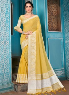 Woven Linen Traditional Designer Saree in Yellow