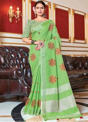 Green Woven Linen Trendy Saree