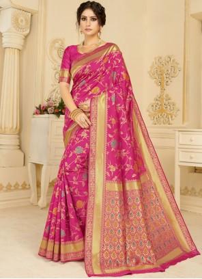 Woven Magenta Silk Casual Saree