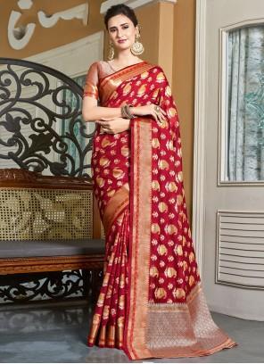 Red Woven Mehndi Designer Traditional Saree