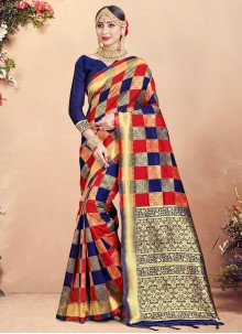 Woven Multi Colour Art Banarasi Silk Traditional Saree
