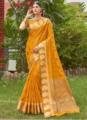 Woven Mustard Handloom Cotton Traditional Saree