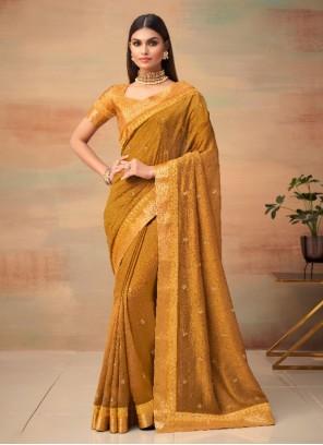 Woven Vichitra silk Mustard Traditional Saree