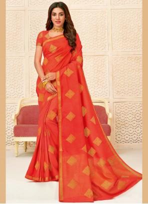 Woven Orange Bollywood Saree
