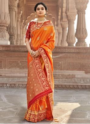 Woven Orange Designer Saree