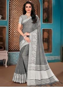 Grey Woven Party Designer Traditional Saree