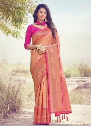 Woven Peach Art Silk Traditional Saree