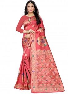 Woven Pink Casual Saree