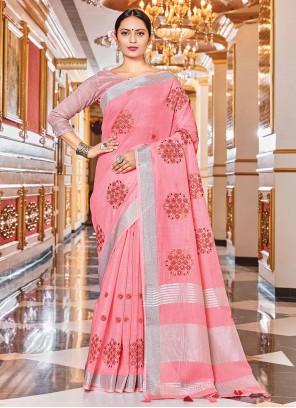 Woven Pink Linen Trendy Saree