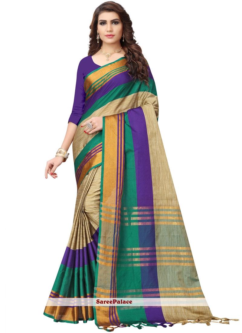 Multi Colour Woven Poly Cotton Casual Saree