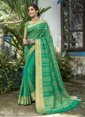 Woven Rama Traditional Designer Saree