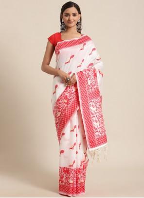 Woven Red and White Bhagalpuri Silk Traditional Saree