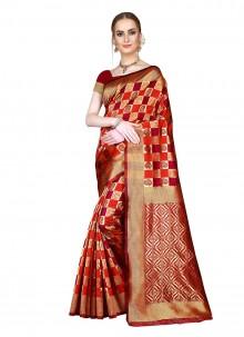 Woven Red Art Silk Saree