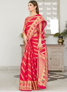 Woven Work Red Silk Traditional Saree