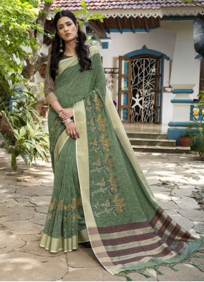 Woven Sea Green Designer Traditional Saree
