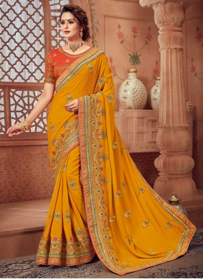 Woven Silk Classic Yellow Designer Saree