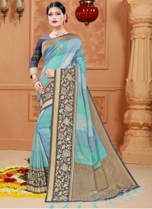 Blue Woven Silk Classic Designer Saree