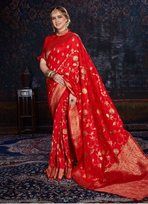 Woven Silk Designer Saree in Red