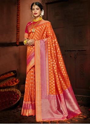 Woven Silk Designer Orange Traditional Saree
