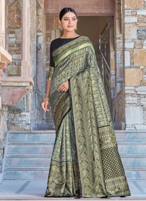 Grey Woven Silk Designer Traditional Saree