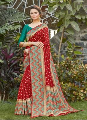 Red Woven Silk Designer Traditional Saree