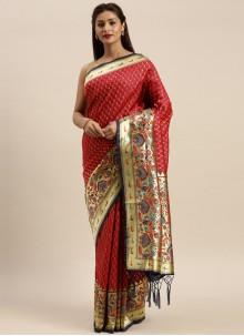 Woven Silk Designer Traditional Saree in Maroon