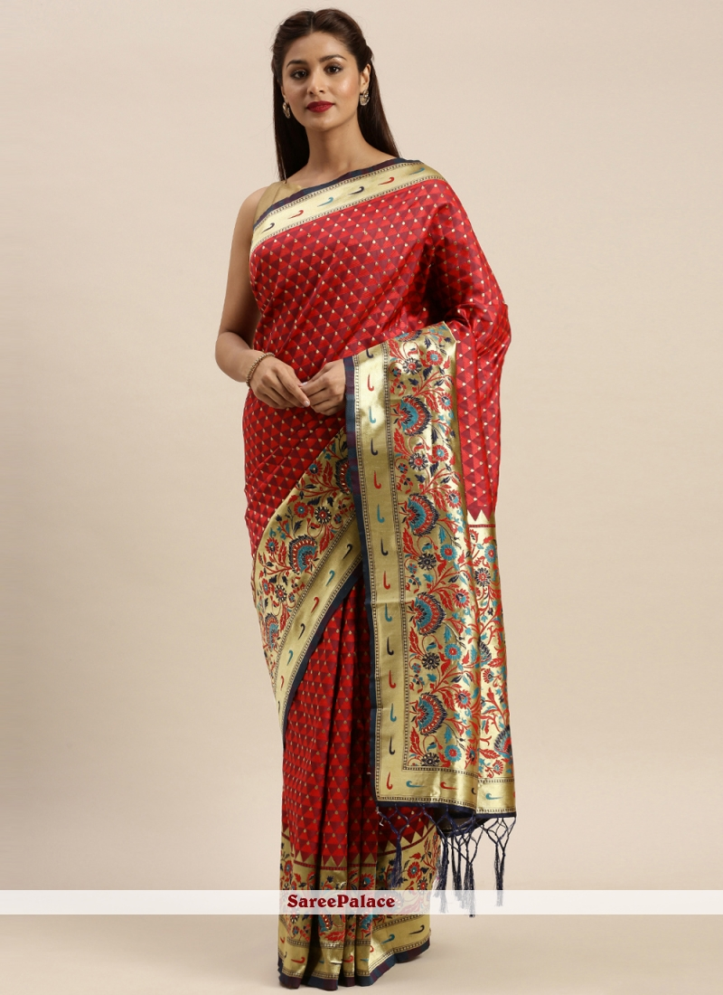 Woven Silk Designer Traditional Saree in Maroon