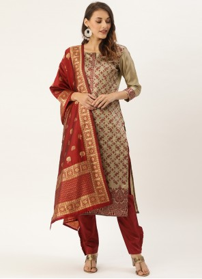 Beige Woven Silk Pant Style Suit For Festival