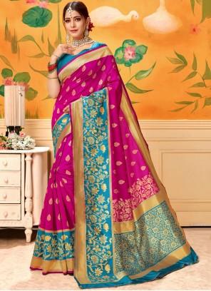 Woven Silk Pink Trendy Saree