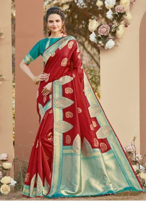 Woven Silk Red Designer Traditional Saree
