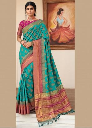 Woven Silk Sea Green Traditional Designer Saree
