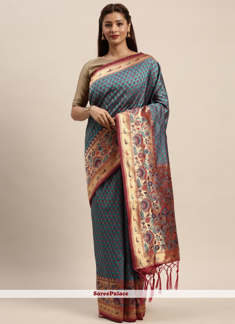 Woven Silk Traditional Designer Saree in Sea Green