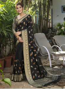 Black Woven Silk Traditional Saree