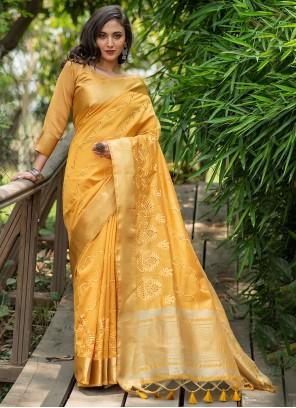 Yellow Woven Silk Traditional Saree