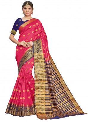Woven Silk Traditional Saree in Hot Pink