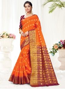 Woven Silk Traditional Saree in Orange