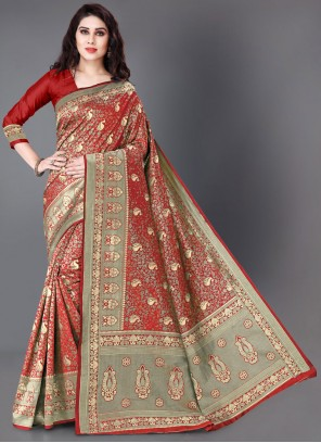 Woven Silk Trendy Saree in Red