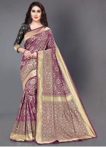 Woven Silk Wine Casual Saree