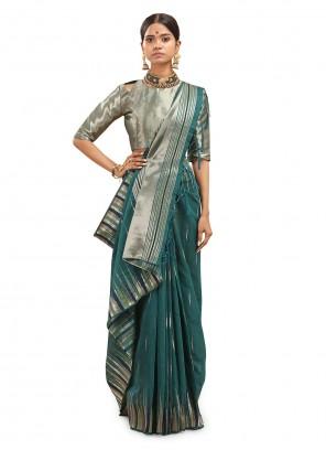 Woven Teal Cotton Silk Designer Traditional Saree