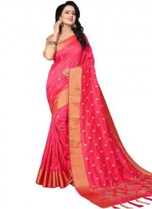 Hot Pink Woven Traditional Designer Saree